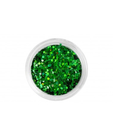 NAIL ART MINI HEXAGON GREEN GLITTER