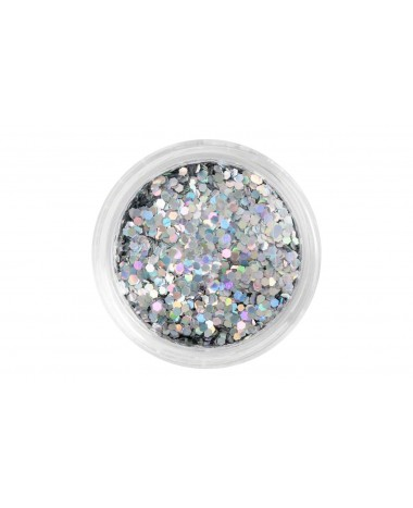 NAIL ART MINI HEXAGON SILVER GLITTER
