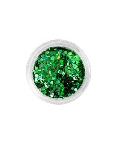 NAIL ART MEDIUM HEXAGON GREEN GLITTER